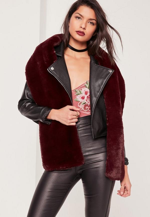 Oversized Faux Fur Scarf Burgundy