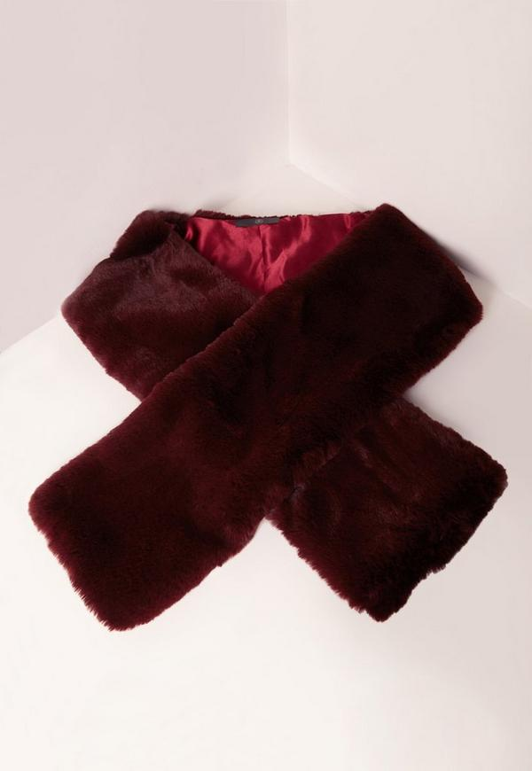 Oversized Faux Fur Scarf Burgundy Missguided