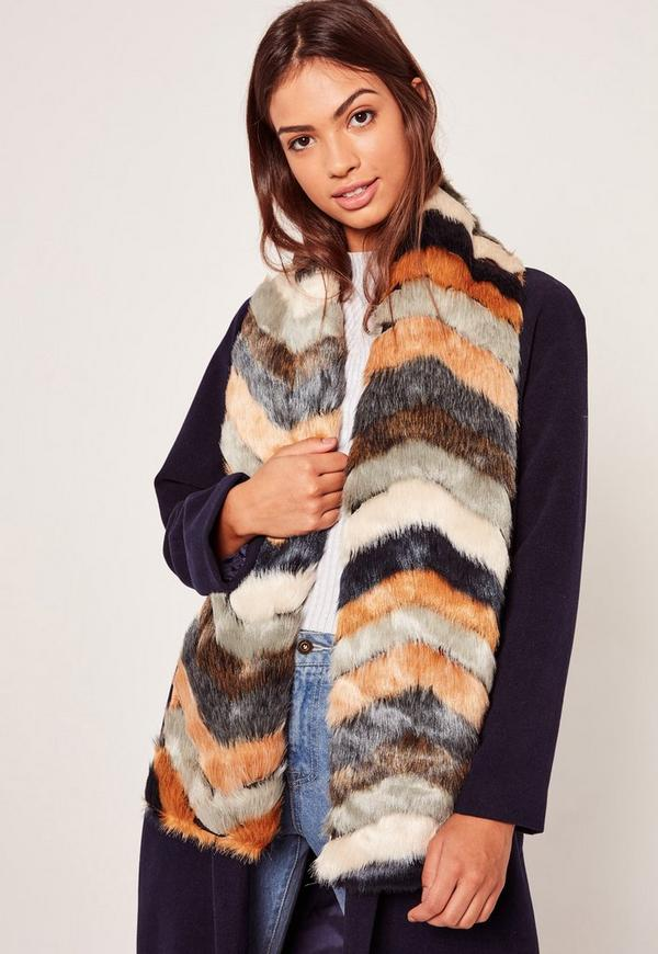 Patchwork Oversized Faux Fur Scarf Multi