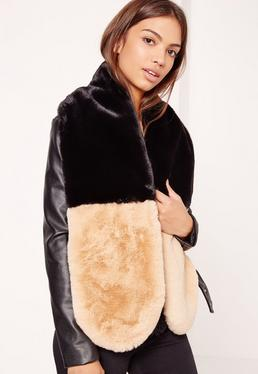 Two Colour Faux Fur Scarf Black