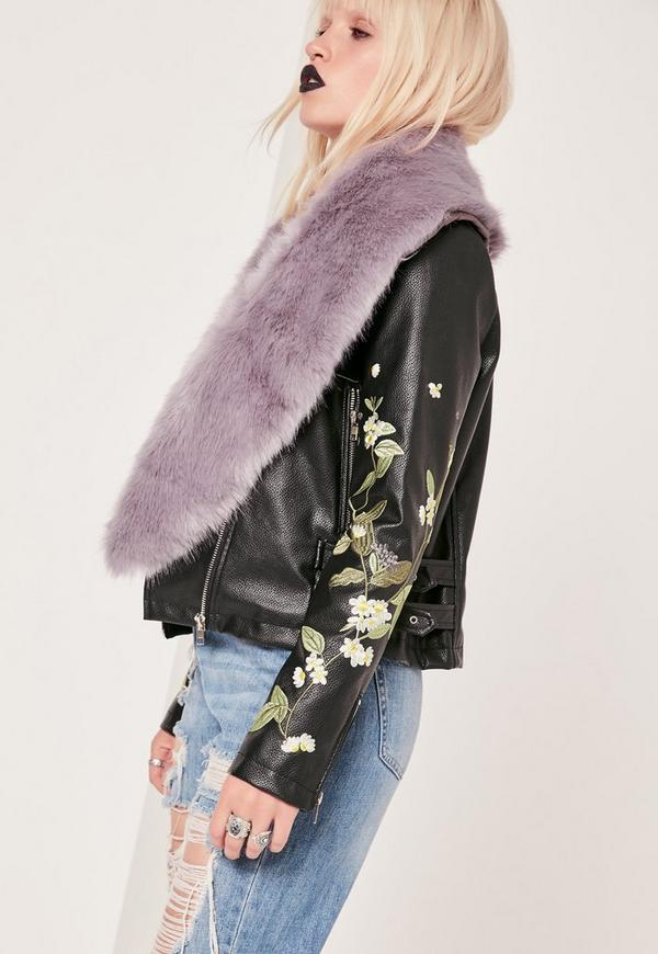 Faux Fur Stole Scarf Purple
