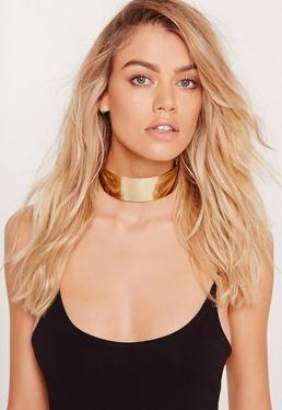 Metal Plate Choker Necklace Gold