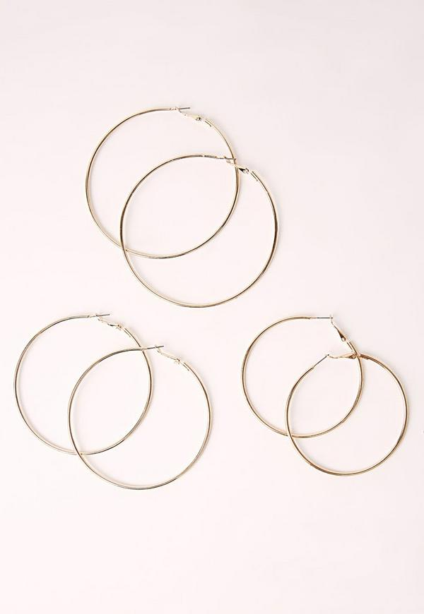Three Pack Hoop Earrings Multi
