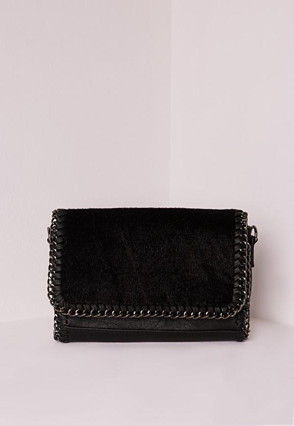 Chain Edge Faux Fur Clutch Bag