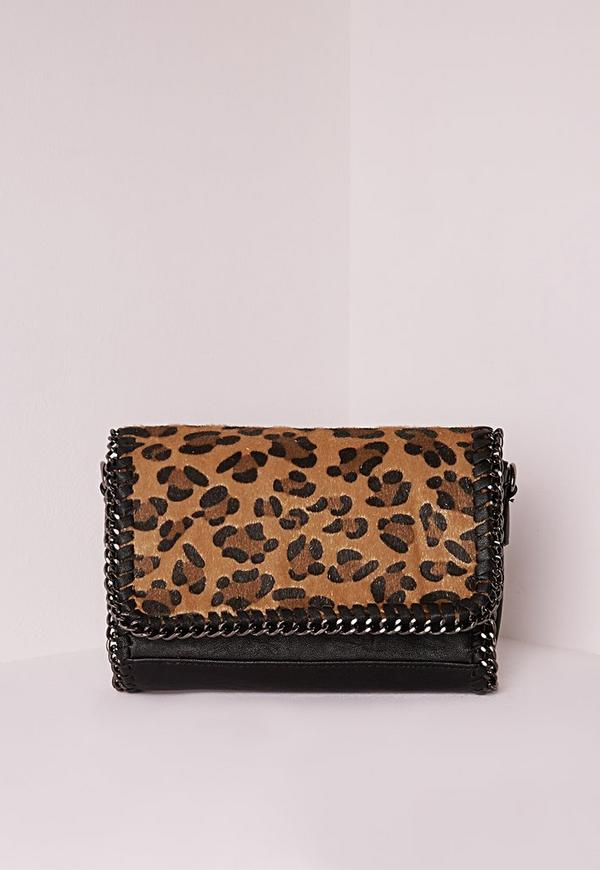 Chain Edge Faux Fur Messenger Bag Leopard