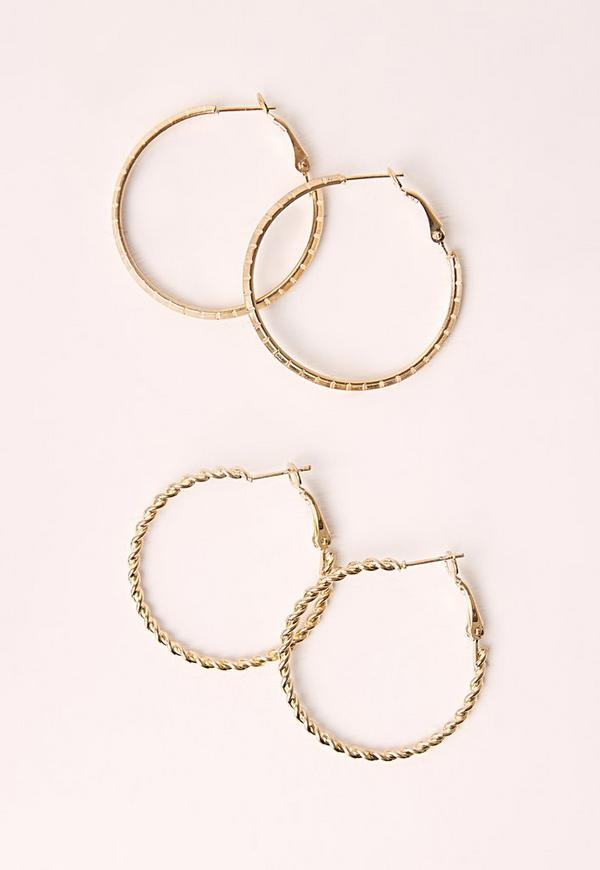 Two Pack Hoop Set Gold