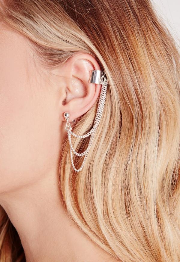 Chain Detail Ear Cuff Silver