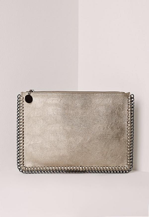 Chain edge zip top clutch bag pewter