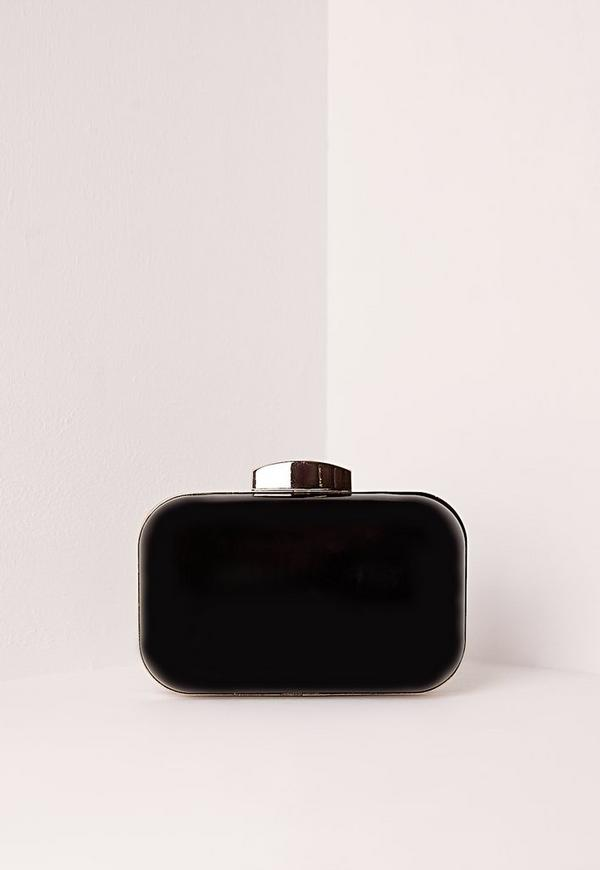 Patent Box Clutch Bag Black