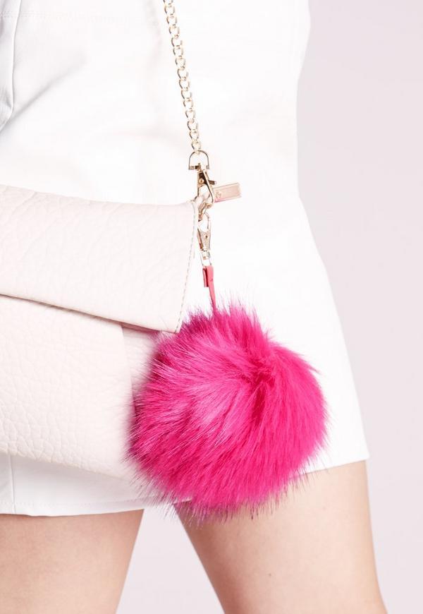 Pink Fluffy Pom Pom Keyring
