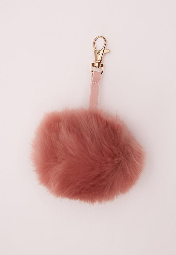 Fluffy Pom Pom Keyring Blush