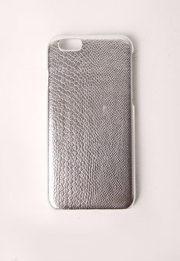 Silver Snakeskin Iphone 6+ Case
