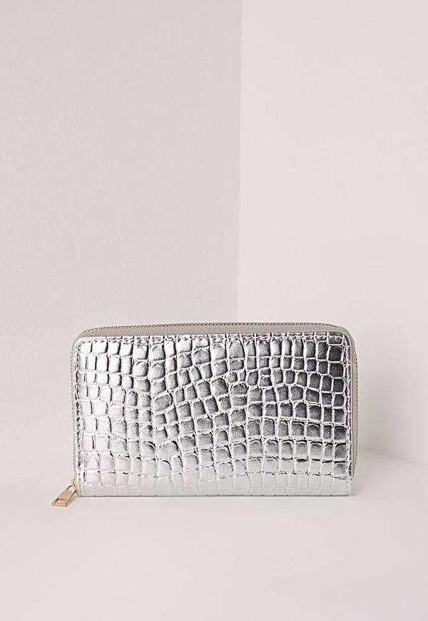 Croc Purse Silver