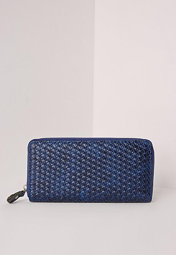 Faux Leather Purse Navy