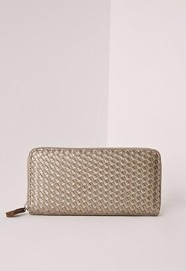 Faux Leather Purse Grey