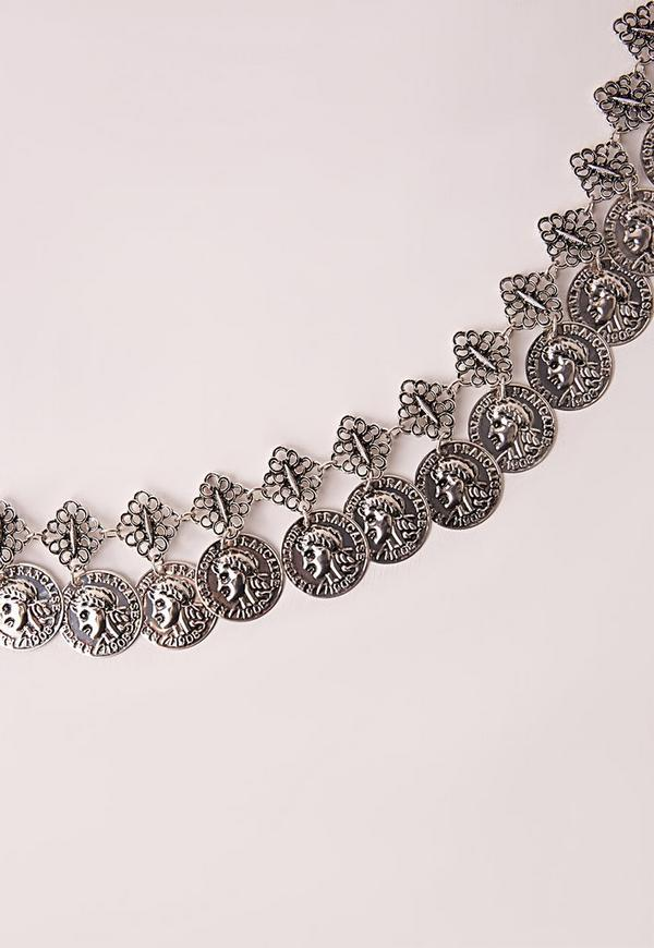 Coin Detail Chain Belt Silver