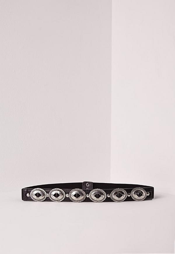 Concho Trim Waist Belt Black