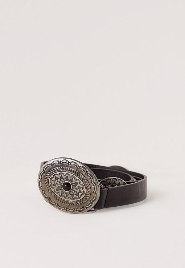 Concho Trim Buckle Belt Black