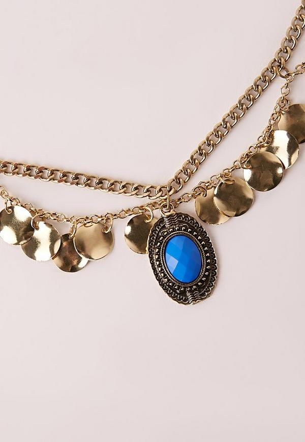 Turquoise Stone Chain Belt Gold