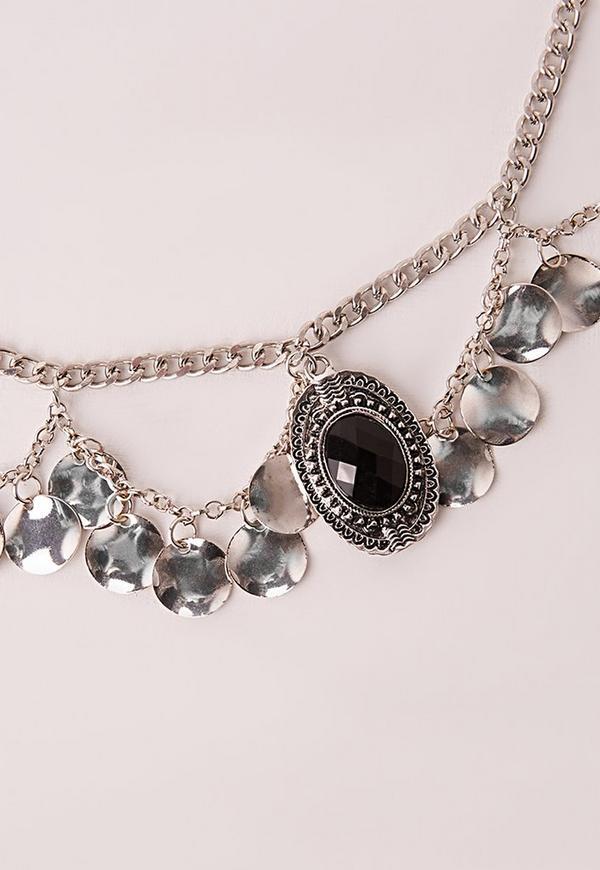 Black Stone Chain Belt