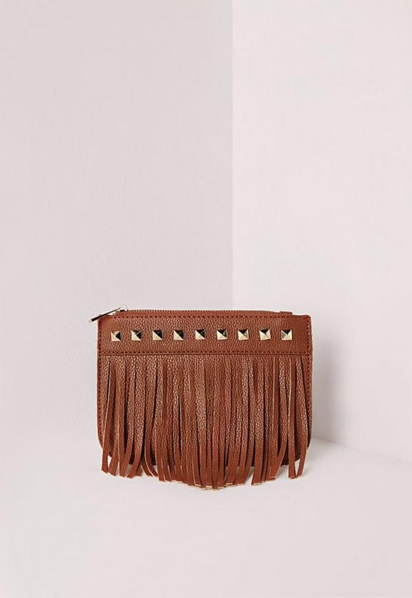Studded Tassel Purse Tan
