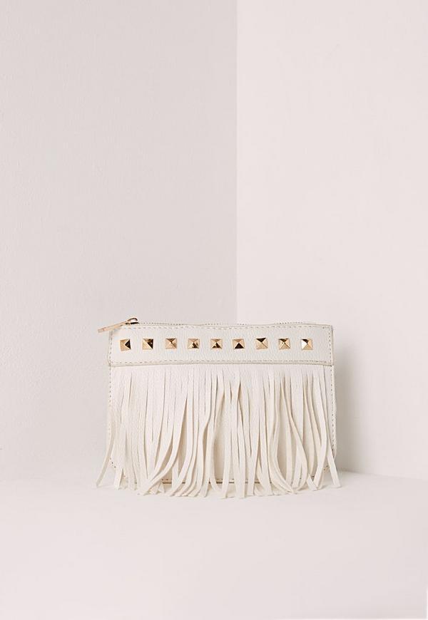 Studded Tassel Purse White