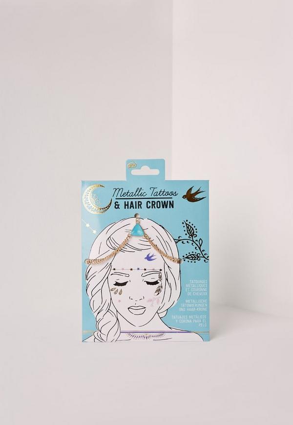 Metallic Tattoos & Hair Crown