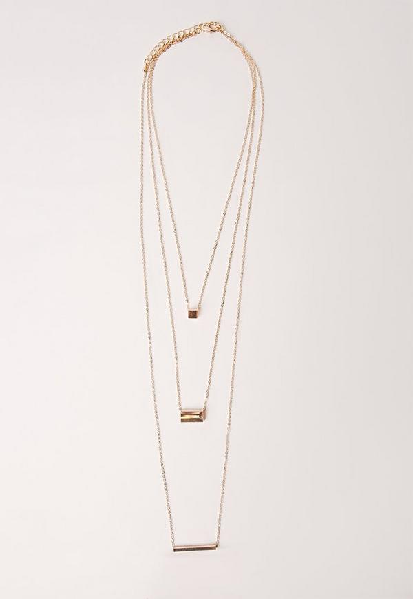Three Layer Simple Necklace Gold