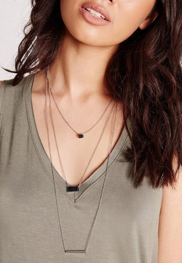 Three Layer Simple Necklace Silver