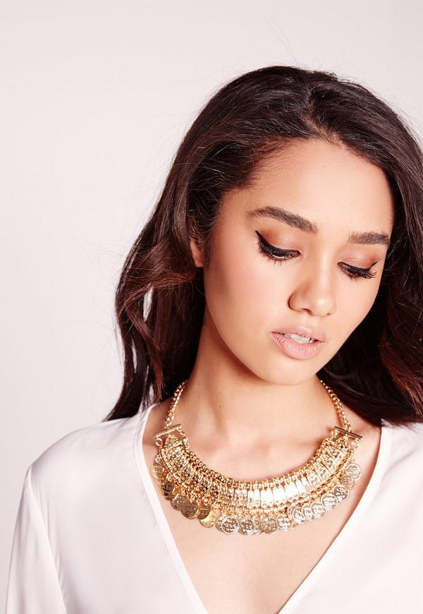 Coin Trim Necklace Gold