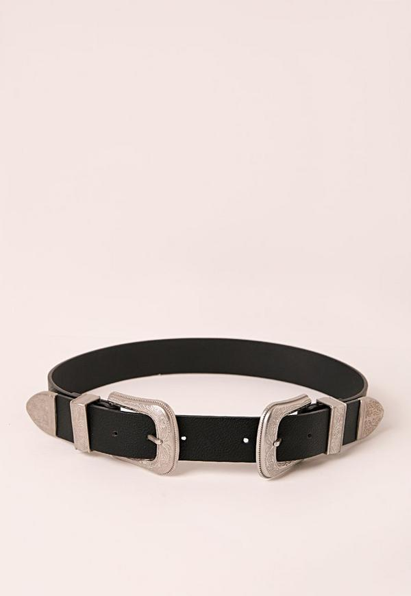 Embossed Two Buckle Belt Black
