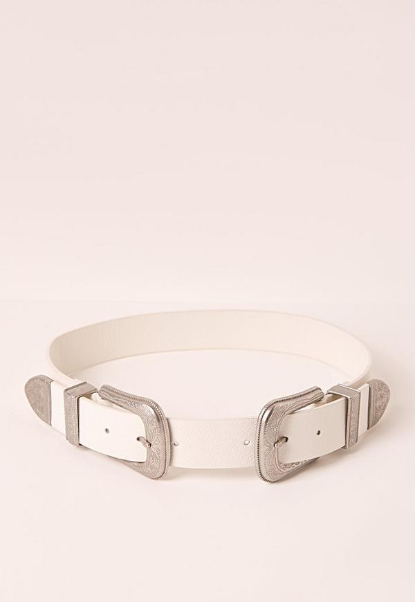 Embossed Two Buckle Belt White