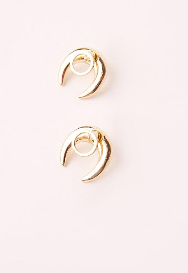 Moon Stud Earrings gold