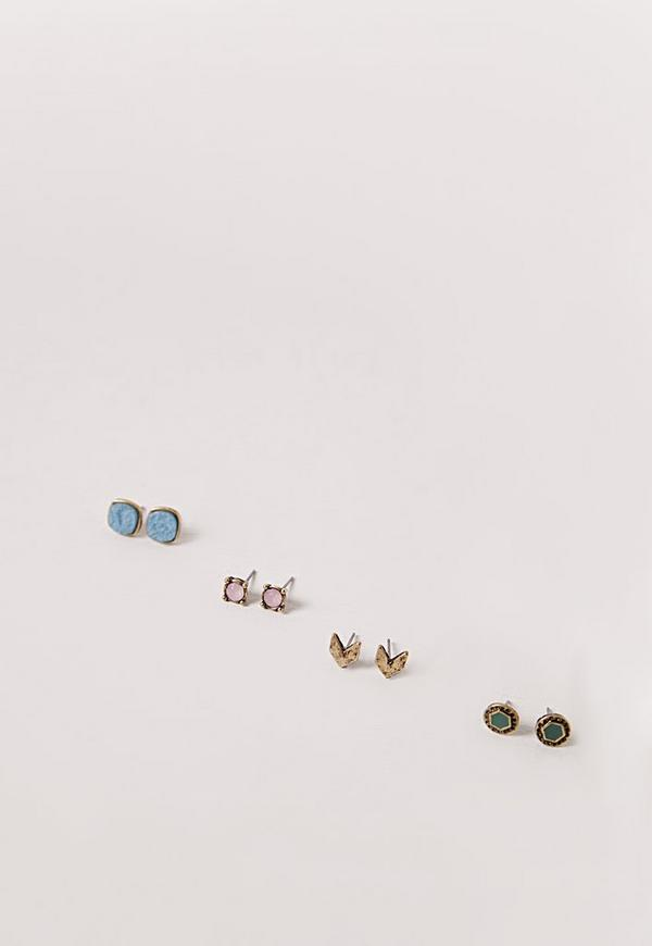 Four Pack Stud Earrings Multi