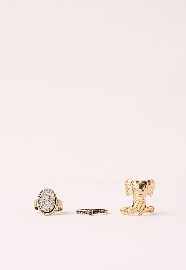 Elephant Three Pack Ring Set Gold