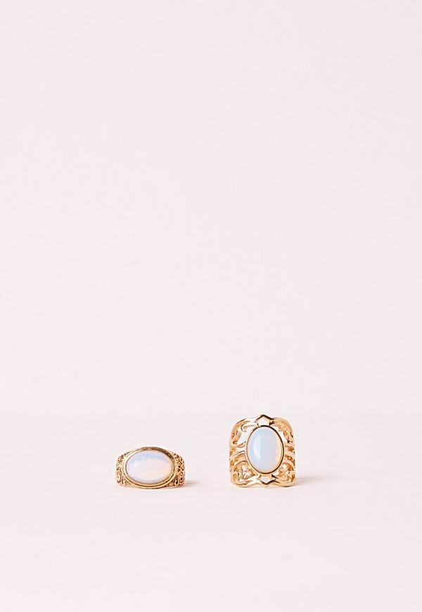 Moon Stone Ring Set Gold