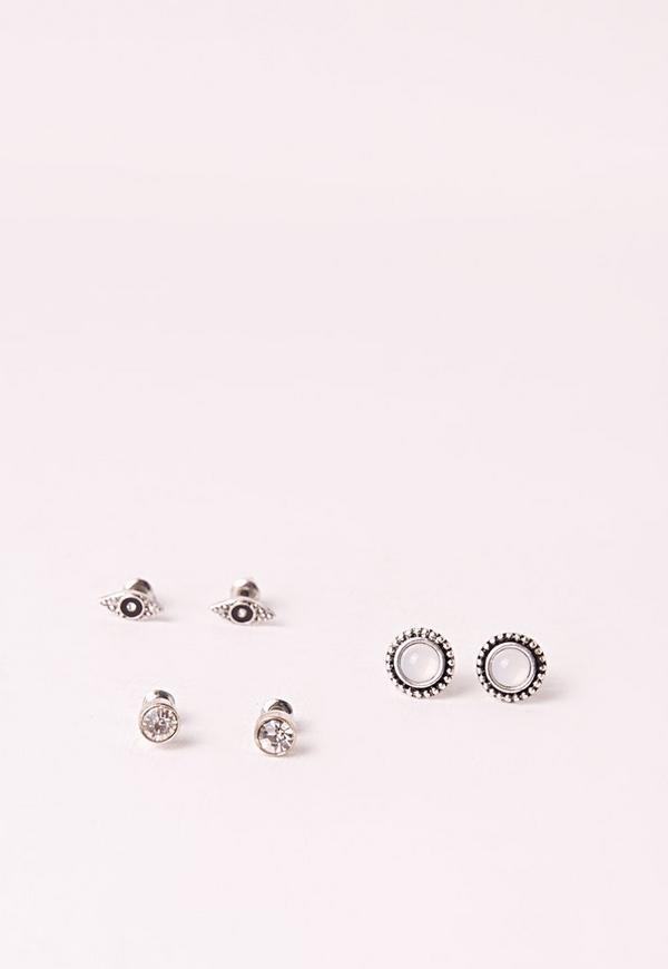 Three Pack Ethnic Stud Earrings Silver