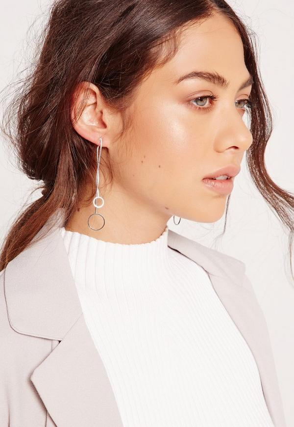 Double Circle Drop Earrings Silver