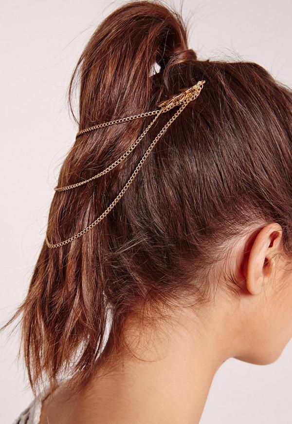 Leaf Trim Hair Chain Gold