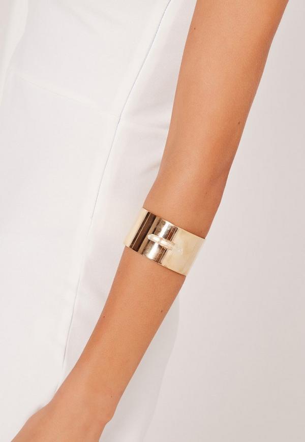 Raw Stone Cuff Bracelet Gold