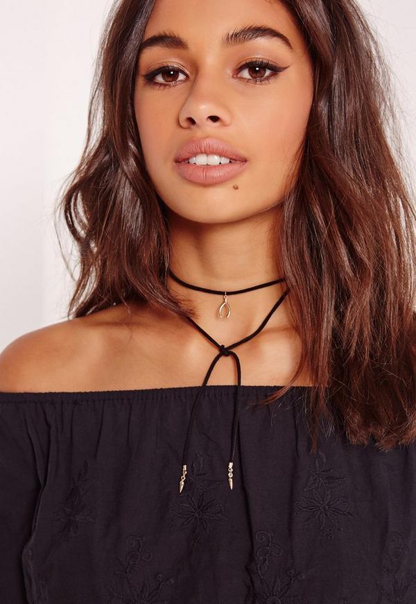 Wishbone Wrap Around Necklace Black