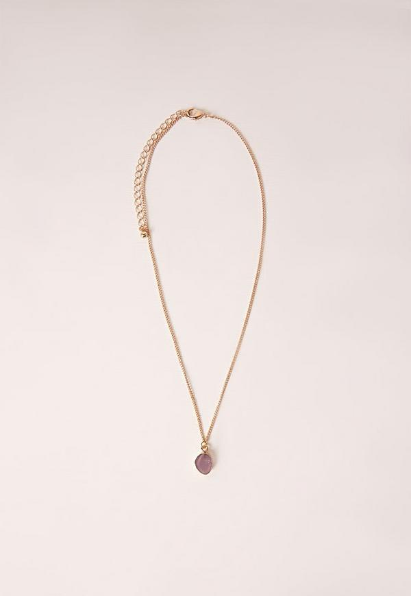 Delicate Stone Necklace Gold