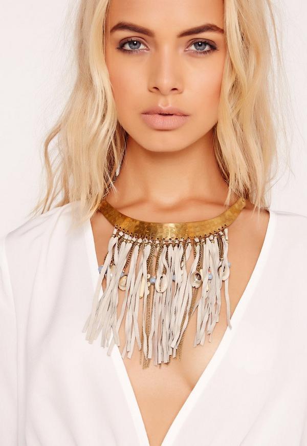 Tassel Trim Collar Necklace