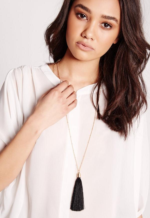 Tassel Trim Long Necklace Black