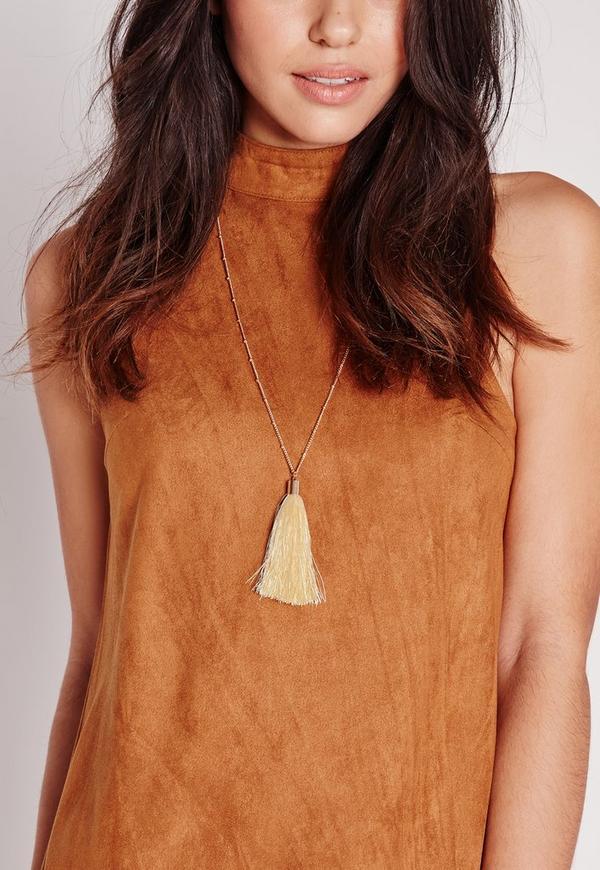Tassel Trim Long Necklace Cream