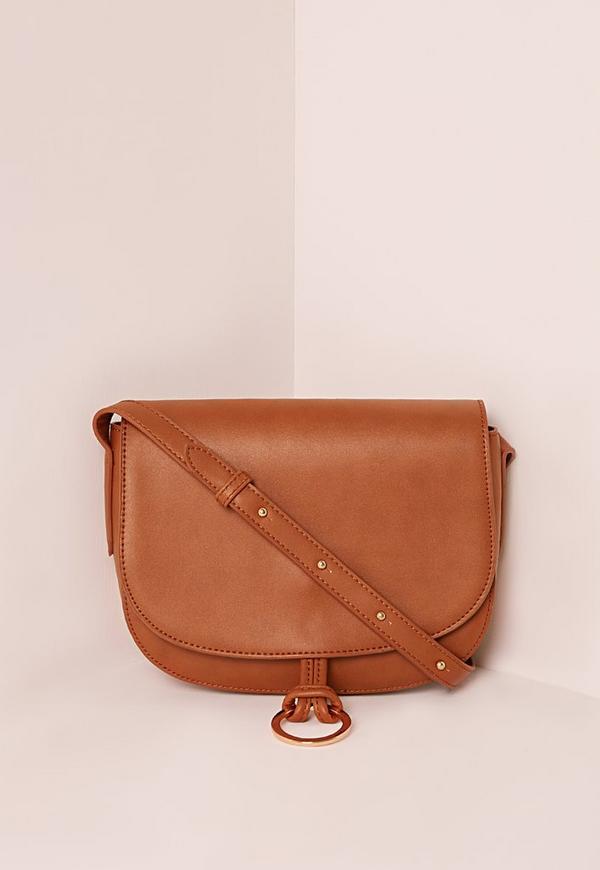 Circle Trim Saddle Bag Tan