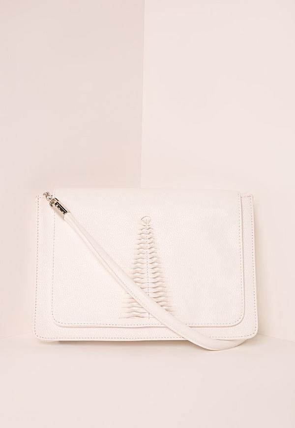 Woven Detail Shoulder Bag White