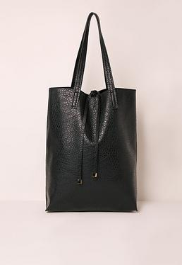 Soft Textured Classic Shopper Bag Black