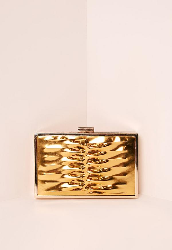 Woven Twist Clutch Bag Gold