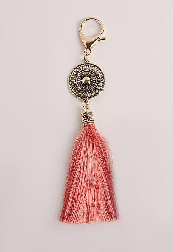 Boho Tassel Keyring Pink